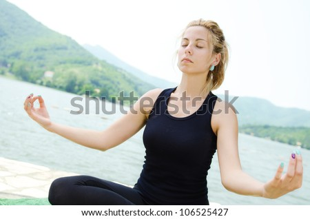 natural beauty young girl meditating, by voter