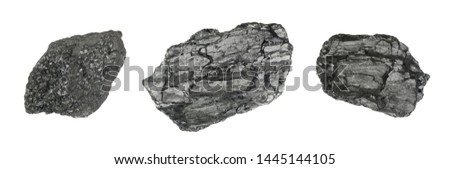 Natural black hard coal or diamond coal isolated on white background. Best grade of metallurgical anthracite coals often referred to as stone coal and black diamond coal