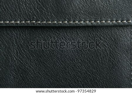 Natural black leather background closeup