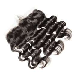 Natural black  virgin remy body wave human hair extensions wide range lace frontal closure