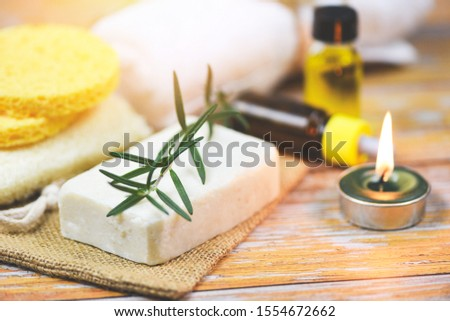 Natural body care herbal dermatology cosmetic hygienic for beauty skincare treatment personal hygiene scrub objects / Natural bath products rosemary soap herbs essential oil spa aromatherapy light #1554672662