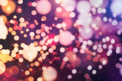 natural bokeh and bright golden lights. Vintage Magic background with colorful bokeh. Spring Summer Christmas New Year disco party