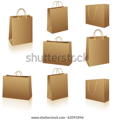 Natural brown paper shopping bags isolated on white