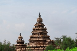 Natural closeup view of Seashore temple at Mahabalipuram in India, Archaeological site architecture. Seashore  temple image. beautiful architecture of seashore temple in india