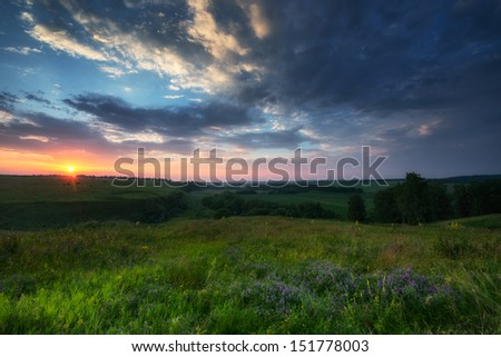 Natural colours summer sunrise over fields and hills in Russia #151778003
