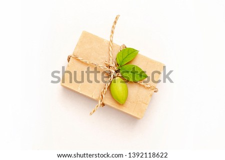 Natural cosmetic and wellness concept. Organic soap on white background, natural soap, beauty, spa, therapy, Natural handmade soap.