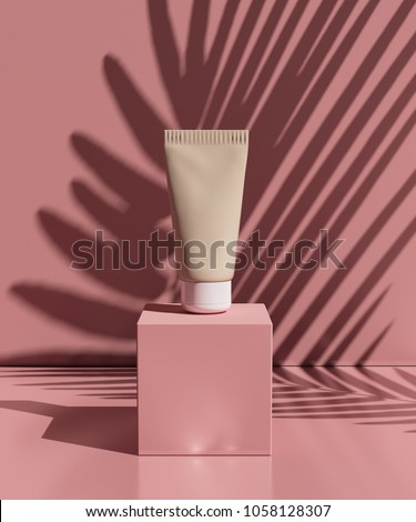natural cosmetic cream , serum, skincare blank bottle packaging with leaves herb, wood . bio organic product.beauty and spa concept. 3d illustration