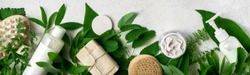 Natural cosmetics and green leaves on white stone background, banner. Natural organic skincare, bio research and healthy lifestyle concept.