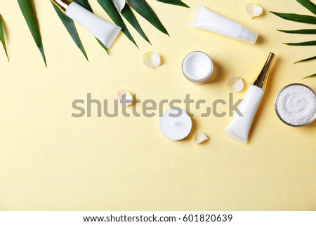 Natural cosmetics and leaves on light background #601820639