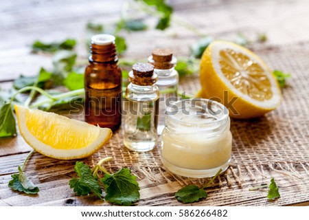 Natural cosmetics with herbal ingredients, close-up