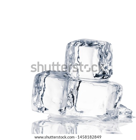 Natural crystal clear ice cubes on white background.