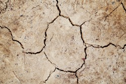 Natural dirty mud ground texture background. Closeup macro of dry brown soil sand land. Abstract earth nature backdrop or wallpaper. Unusual pattern surface with cracks, holes, lines.