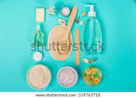 Natural domestic products for skincare. Oat, oil, soap, facial cleanser. #559763710