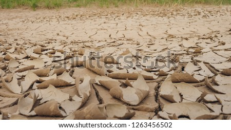 Natural Drought concept:Dried cracked earth soil ground texture background.desert rough land dry crack erosion in the ground due to drought.Dry  clay soil texture