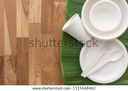 Natural eco-friendly disposable utensils (fork, spoon, dish plate, bowl and cup) made of fiber of bagasse and bamboo on green banana leaf and wooden table background with copy space. Save the earth.