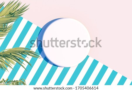 Natural Empty white cylinder box on summer scene background with tropical palm leaves. for cosmetic product display. Flat lay. Top view. 3d render.