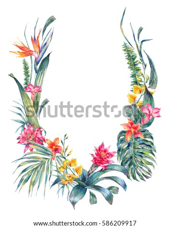 Natural exotic watercolor wreath for wedding invitation, green tropical leaves and flowers, fern, dense jungle, Hand painted botanical summer illustration on white background