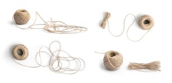 Natural fiber brown thread yarn, string or rope isolated on white background. Handicraft.