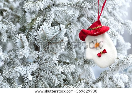 Natural fir tree and fir-tree covered with frost Christmas decoration, Christmas decoration #569629930