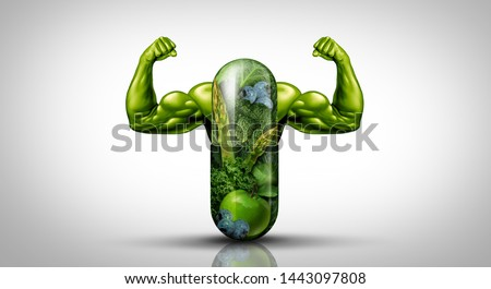 Natural food supplement Power concept as a giant pill or medicine capsule with fresh fruit and vegetables as a dietary symbol for good eating lifestyle with 3D illustration elements. Foto d'archivio ©