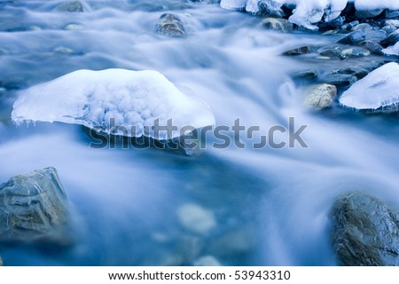 natural formed ice sculpture in a creek