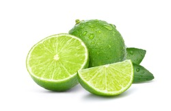 Natural  fresh lime with water drops and sliced, green leaf isolated on white background