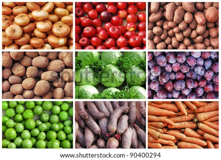 natural fruits and vegetables backgrounds collage