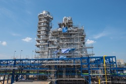 Natural Gas Combined Cycle Power Plant and sky during construction