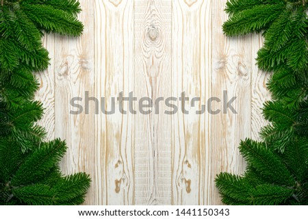 Natural green spruce twig on white background. Lush fir branches or pine twigs sprig texture top view #1441150343