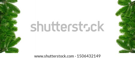 Natural green spruce twig on white background. Lush fir branches or pine twigs sprig texture top view #1506432149