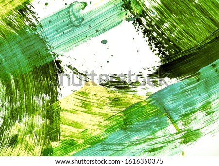 Natural Green Sunny Hand Drawn Dirty Art. Lime Green Mustard Oil Painting. Leafy Color Summer Organic Farming Idea. Grassy Color Yellow Abstract Art. Organic Color Mustard Acrylic Texture.