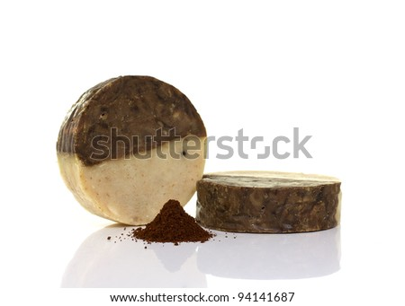 Natural handmade coffee soap  isolated on a  white background.