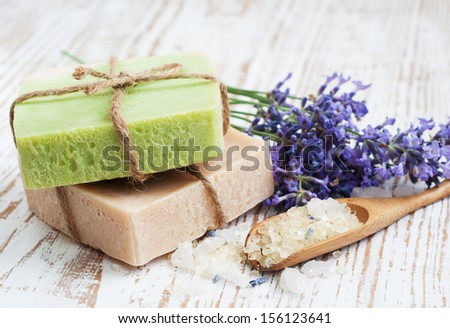 Natural handmade Herbal Soap with leaves and sea salt