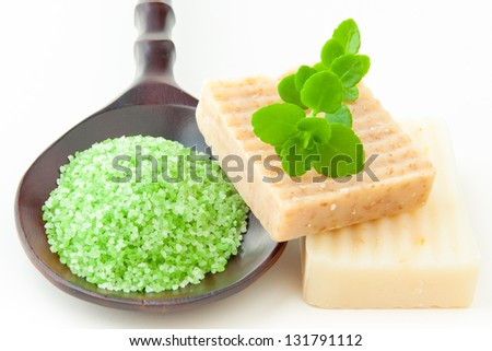 Natural handmade soap and bath salt for spa - stock photo