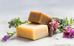 Natural handmade soap bars with flowers, spa organic soap