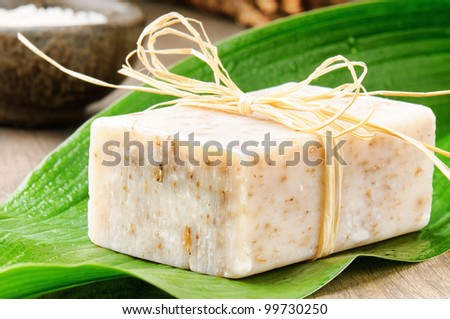 Natural handmade soap on a green leaf