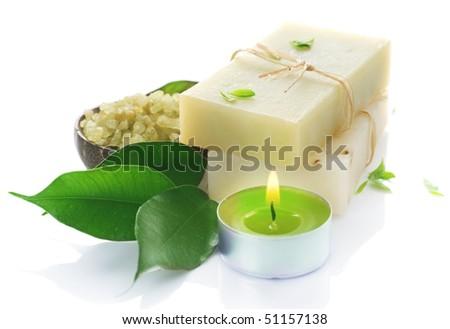 Natural Handmade Soap over white.Spa - stock photo