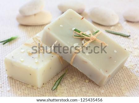 Natural handmade soap ,sea salt and stones