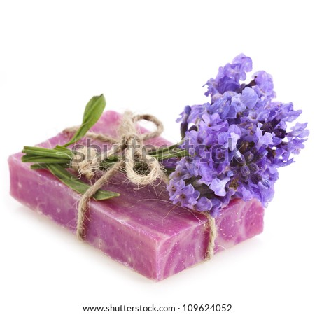 Natural handmade soap with  flowers lavender , isolated on white