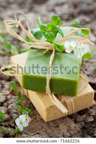 Natural Handmade Soap with herbs - stock photo