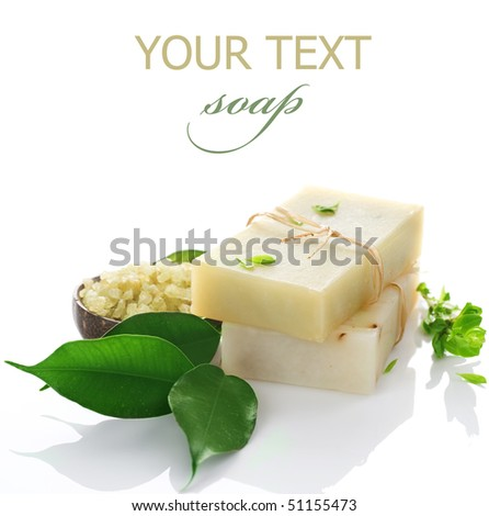 Natural handmade Soap with herbs  isolated on white