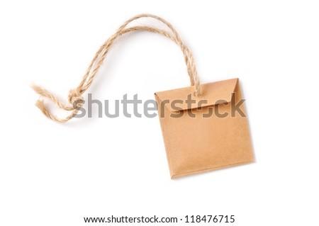 Natural handmade tag isolated - stock photo