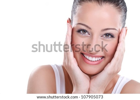Natural health & beauty. Close-up of sensual woman model with clean face on white background .Spa, wellness, skin care.