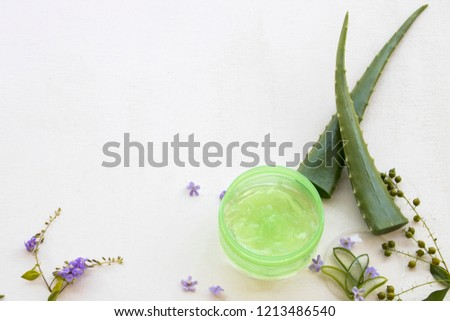 natural herbal soothing gel aroma face mask from aloe vera health care for skin face on background white wooden
