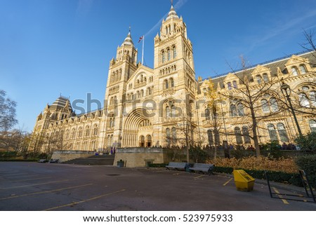 Natural History Museum of London in autumn sunny day, United Kingdom