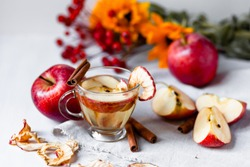 Natural homemade autumn hot drink: spicy beverage made from fresh and dried dehydrated apples with cinnamon and honey. Fresh fruits to illustrate ingredients. Can also be warm punch or mulled wine