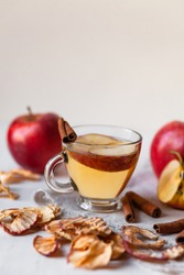 Natural homemade autumn hot drink: spicy beverage made from fresh and dried dehydrated apples with cinnamon and honey. Fresh fruits. Can also be warm punch or mulled wine. Copy space for text