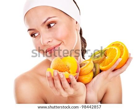 Natural homemade fruit  facial masks . Isolated.
