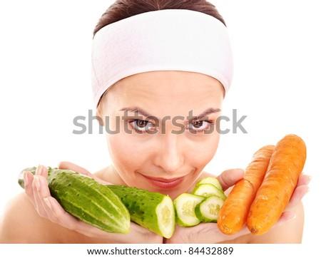 Natural homemade vegetables  facial masks . Healthy eating.