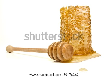 Natural Honeycomb from low perspective isolated on white.